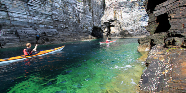 Kayaking at the chasms on the Isle of Man