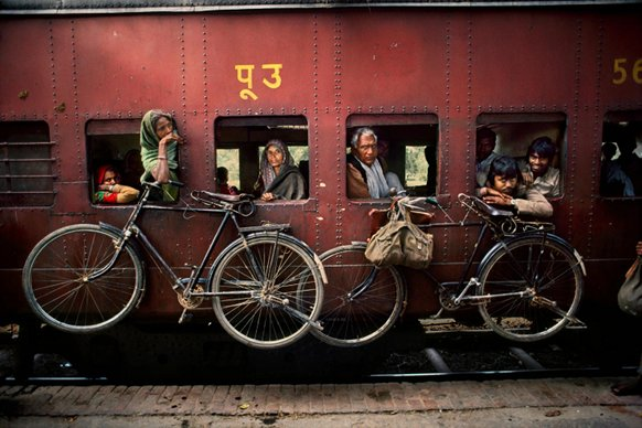 West Bengal, India, Bicycles on the side of the train, 1983