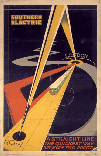 Vintage Railway Posters on modern art deco bedroom