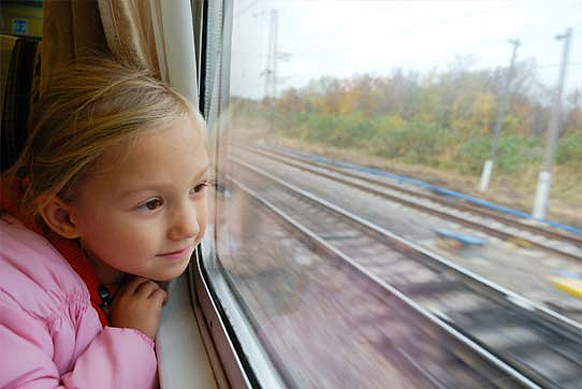 kid on train