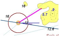 Navigointinäyttö GPS-paikannuksen ollessa päällä. Nähtävissä nopeus, tosisuunta, keulasuunta ja tuuli.