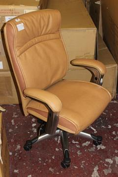 1 john lewis morgan tan leather gas lift swivel office chair rrp