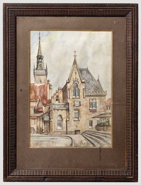 "Auktionslos 6113 - Adolf Hitler - a watercolour ""München Standesamt"" (tr. Munich Registry Office)  Fine painting on"