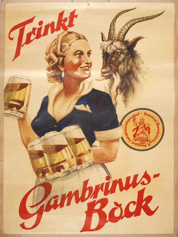 Werbeplakat Brauerei Gambrinus  um 1930, Herst. Eckert & Pflug Kunstanstalt Leipzig, num., Farblitho