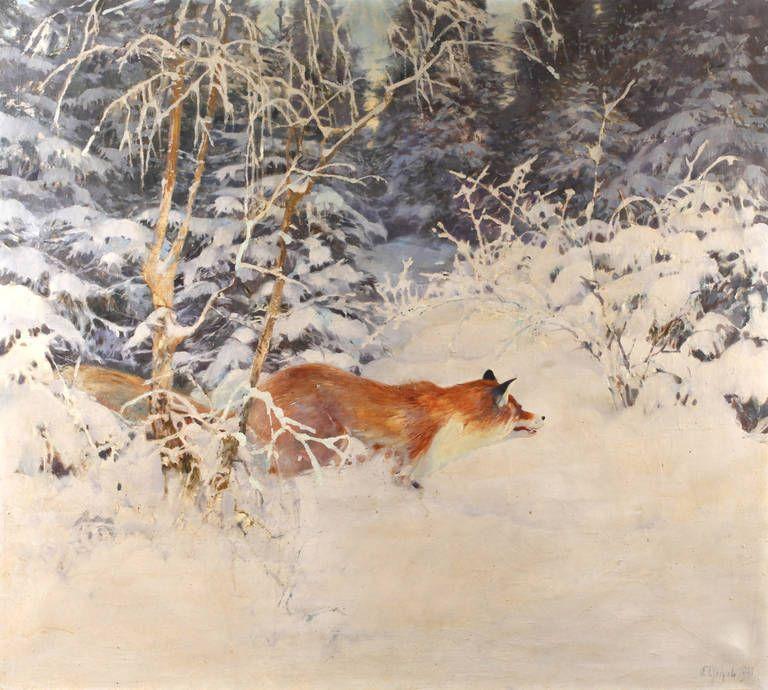 Auktionslos 4160 - Kurt Geipel, schleichender Fuchs  Fuchs im Dickicht am Waldrand in tief verschneiter
