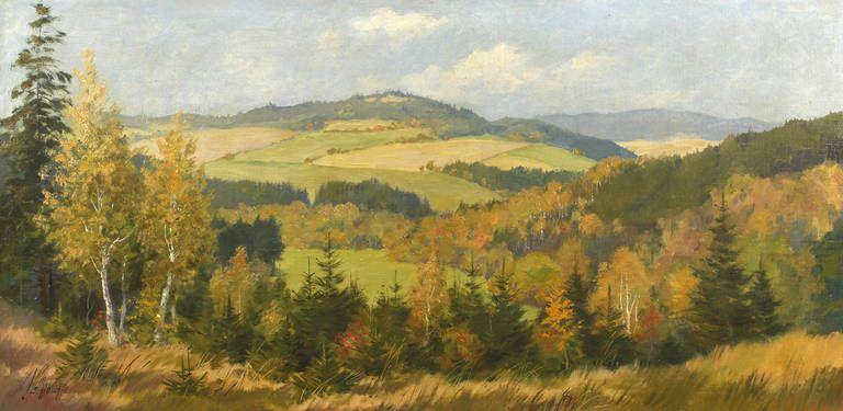 Auktionslos 4165 - Siegfried Hauffe, Spätsommerlandschaft  Blick in sanft bewegte, hügelige Vogtlandlandschaft mit