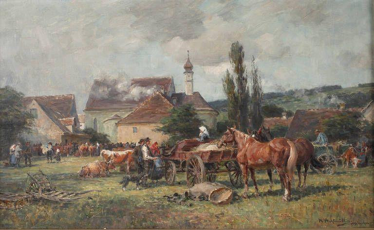 Auktionslos 4245 - Karl Stuhlmüller, Viehmarkt vorm Dorf  idyllische Sommerlandschaft mit Pferdefuhrwerken und Bauern