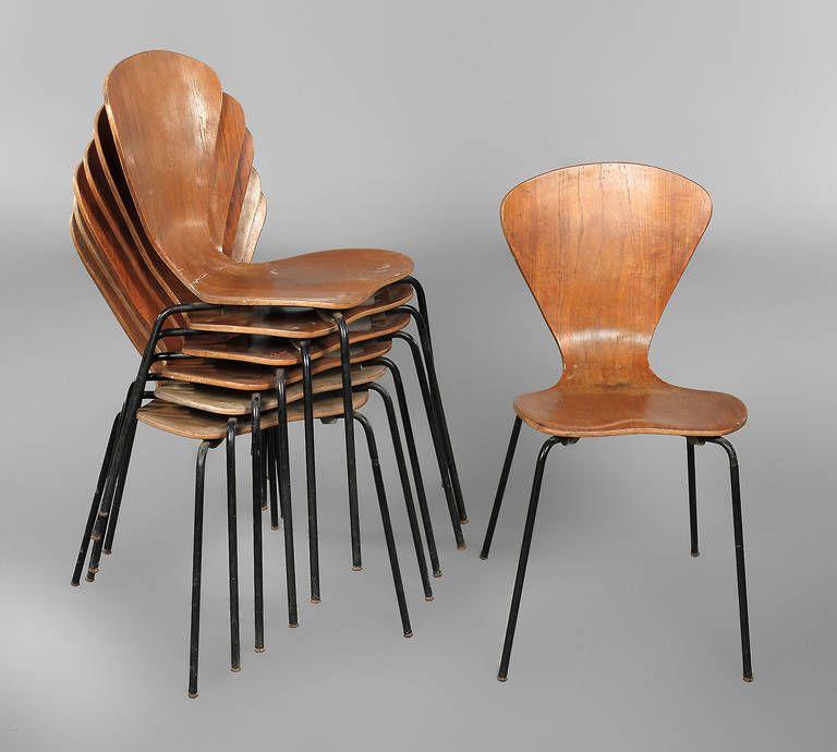 sieben st hle arne jacobsen entwurf 1955 modell nr 3107 gestell gemarkt made in denmark sitz. Black Bedroom Furniture Sets. Home Design Ideas