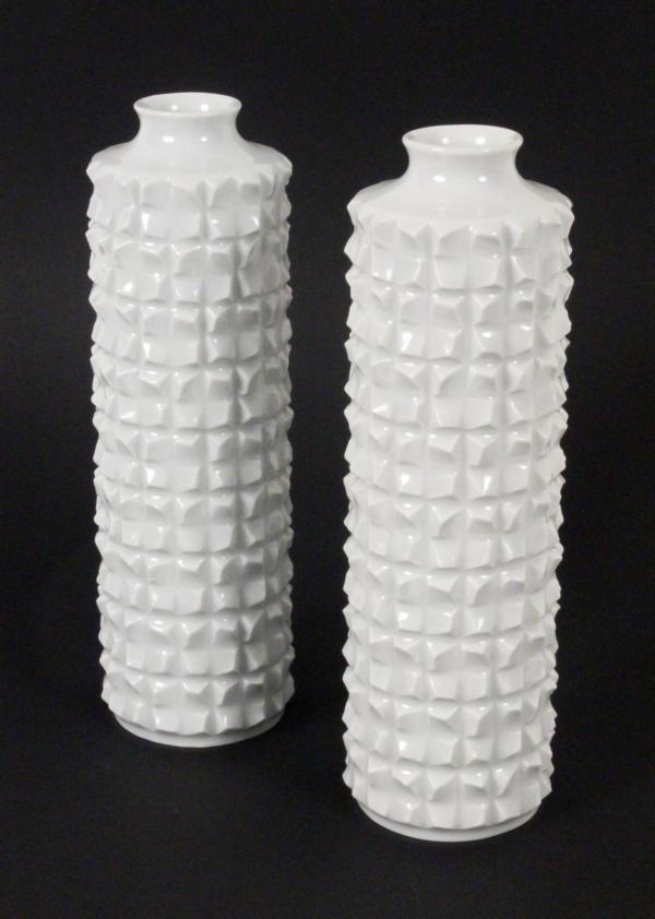 A Pair Of Meissen Vases White Porcelain Draft By Ludwig Zepner 1965