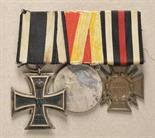 Baden  Large mounted medalbar with 3 decorations.  1.) Prussia: Iron Cross, 1914, 2. class; 2.)