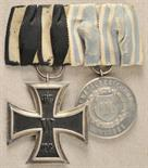 Bavaria  Mounted medalbar with 2 decorations.  1.) Prussia: Iron Cross, 1914, 2. class; 2.) Bavaria: