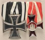 Hamburg  Hamburg: Large mounted medalbar with 2 decorations.  1.) Prussia: Iron Cross, 1914, 2.