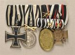 Hohenzollern  Large mounted medalbar with 4 decorations.  1.) Prussia: Iron Cross, 1914, 2. class;