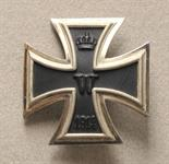 Prussia  Iron Cross, 1914, 1. class.  Blackened iron core, silvered frame, on pin, highly