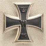 Prussia  Iron Cross, 1914, 1. class.  Blackened iron core, silver frame, on pin hallmarked G.