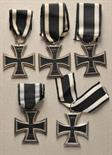 Prussia  Lot of 5 Iron Crosses, 1914, 2. class.  Various, some with silver hallmarks, all on ribbon.