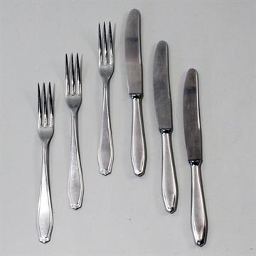Nirosta Obstbesteck 6 Gabeln 5 Messer Schlichter Dekor Min