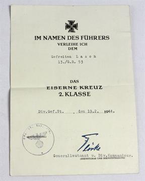 Verleihungsurkunde Eisernes Kreuz 2. Klasse hochformatige ...