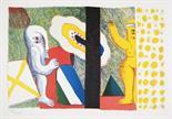 Horst Antes. Paar (Interieur). Farboffsetlithographie. 1964. 27,5 : 41,5 cm (38,5 : 49,5 cm).