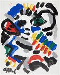 Karel Appel. Ohne Titel. Tempera. 1981. 31,0 : 24,5 cm. Signiert.     Blattfüllende, recht