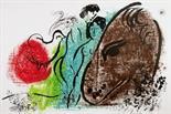 Marc Chagall. Le coq rouge. – Le cheval brun. Zwei Farblithographien. 1952. Je 38,0 : 55,2 cm.