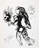 Marc Chagall. L'offrande. Lithographie. 1960. 24,5 : 31,0 cm (47,5 : 32,0 cm).     Probedruck