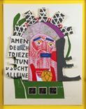 Felix Martin Furtwängler. Gutenberg 2000. Zur Johannisnacht 2000. Collage, farbiger Holzschnitt