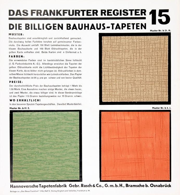 Die Billigen Bauhaus Tapeten Frankfurt A M 1930 Mit