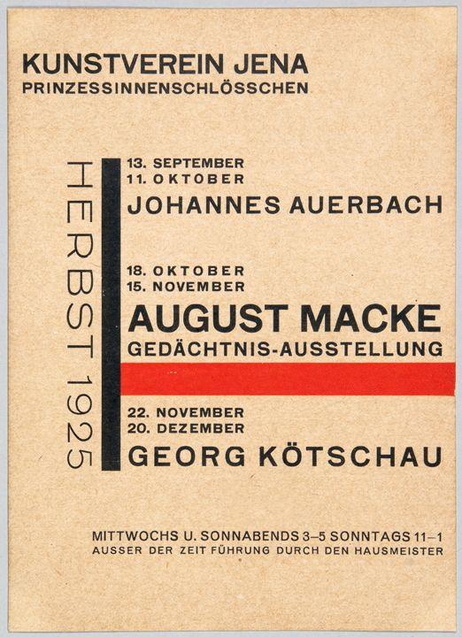 Lot 580 - Walter Dexel. Kunstverein Jena. Prinzessinnenschlösschen. Herbst 1925. Einladungskarte. Typodruck in