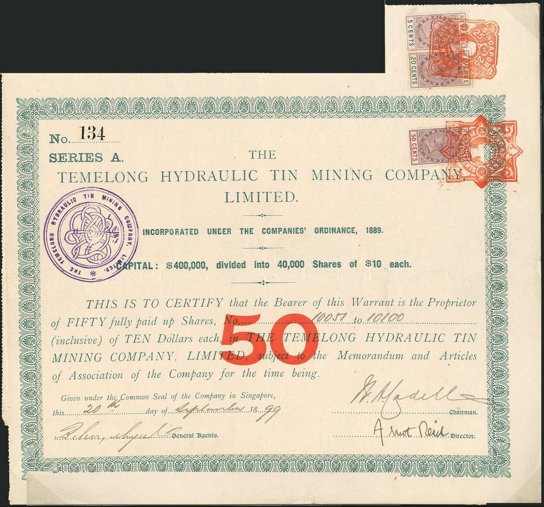 Temelong Hydraulic Tin Mining Co Ltd Bearer Certificate For 50