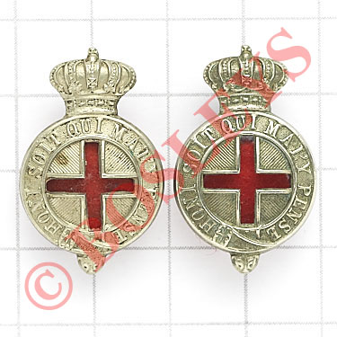 Lot 106 - Volunteer Medical Staff Corps pair of collar badges. Die-stamped white metal crowned Garters with