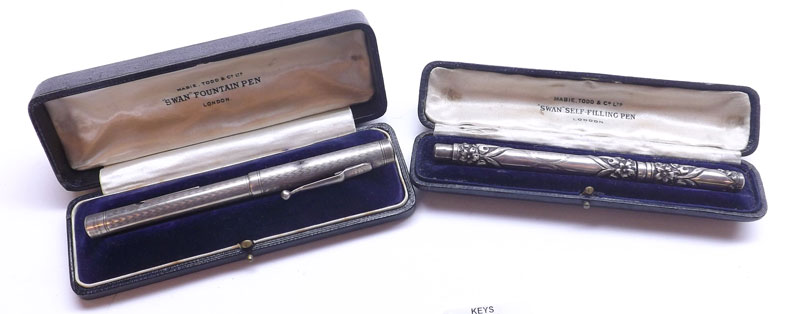 A Sterling Silver Mabie Todd & Co Ltd Swan Self-Filling Pen with case and Swan Fountain Pen with