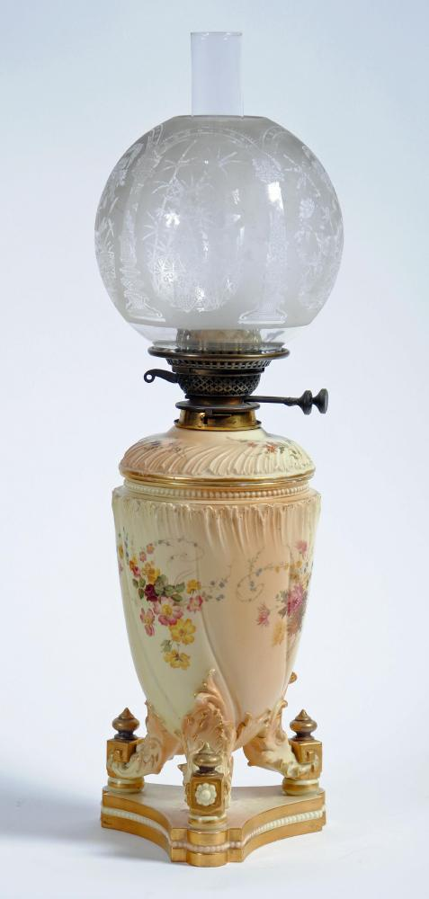 Lot 6 - A ROYAL WORCESTER PORCELAIN BLUSH IVORY OIL LAMP BASE, of wrythen fluted conical form, the lift out