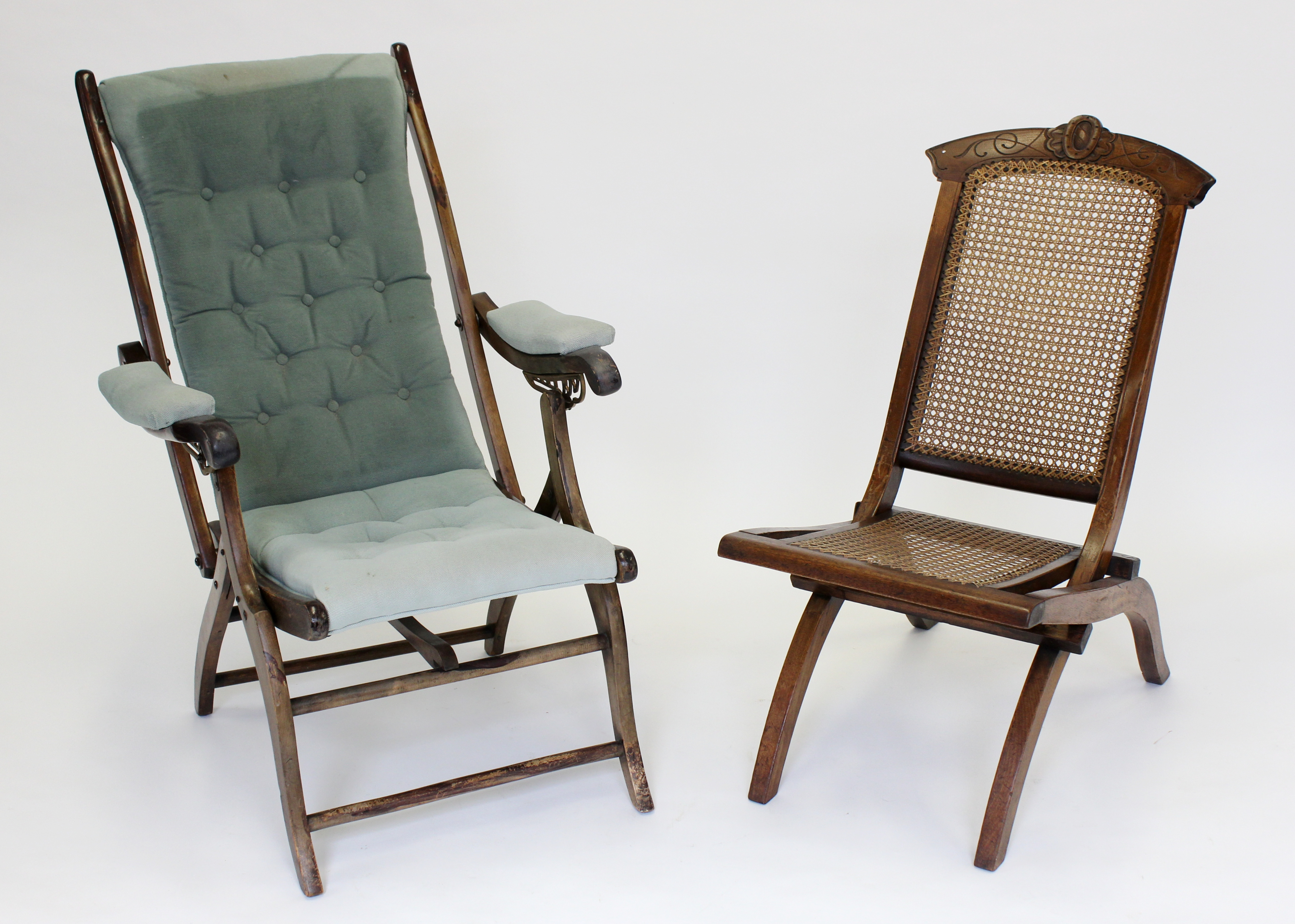 Lot 1055 - Two folding chairs to include a Victorian mahogany folding chair with bergere seat & Two folding chairs to include a Victorian mahogany folding chair ...