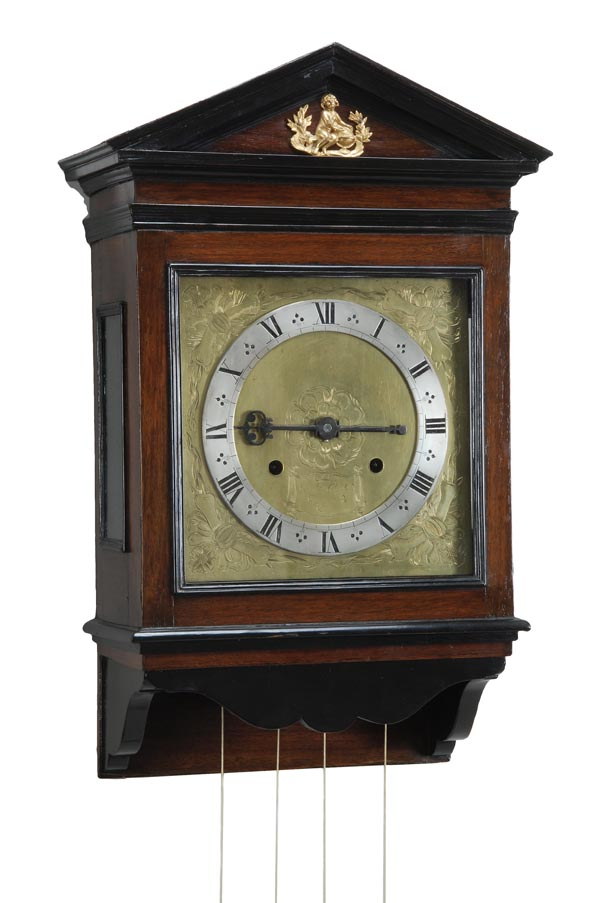 Lot 122 - An important Charles II architectural key-wound thirty-hour hooded wall clock, Jonathan Chambers,