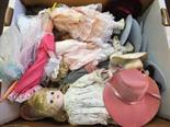 Various porcelain heads and other dolls