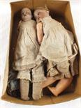 Two vintage dressed dolls, one porcelain head Armand Marseille marked 370 with cloth body, the other