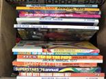 Various Blue Peter annuals and other volumes including 1970's pop music and four LP's