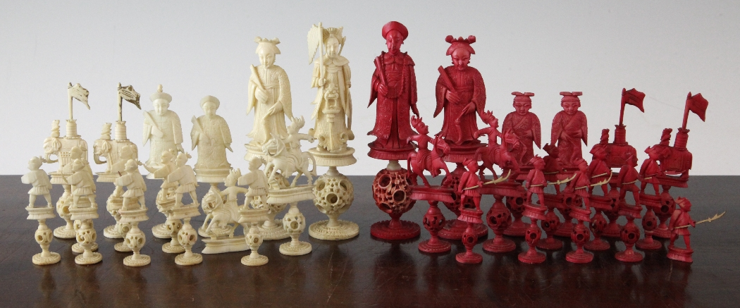 A Chinese Carved Ivory Chess Set Each With Concentric