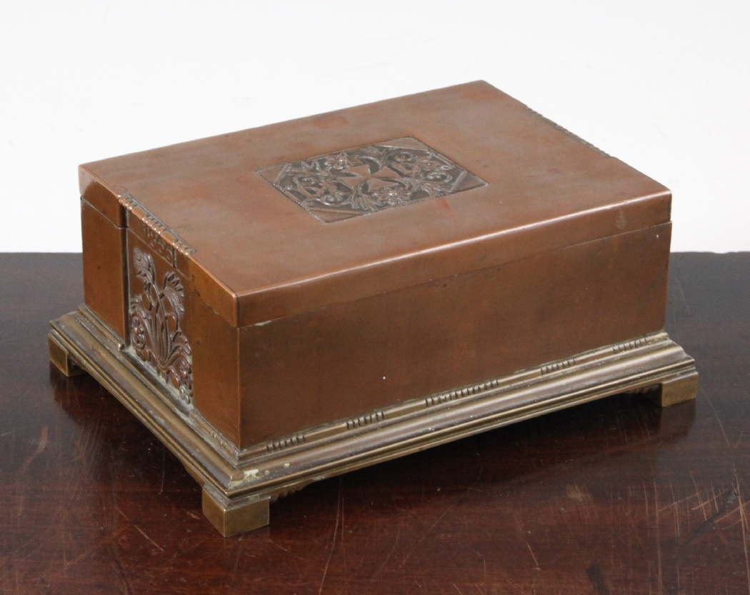 a georg jensen copper cigar box designed by johan rhode with stylised floral panels and initial. Black Bedroom Furniture Sets. Home Design Ideas