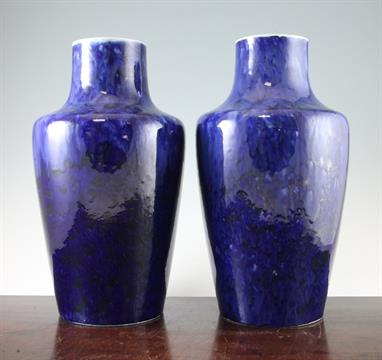 A Pair Of Large And Early Ruskin Pottery Blue Souffle Glazed Vases