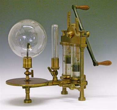 19th Century brass laboratory vacuum pump engraved `E. Ducretet & Cie, Rue des Ursulines 21, Pa