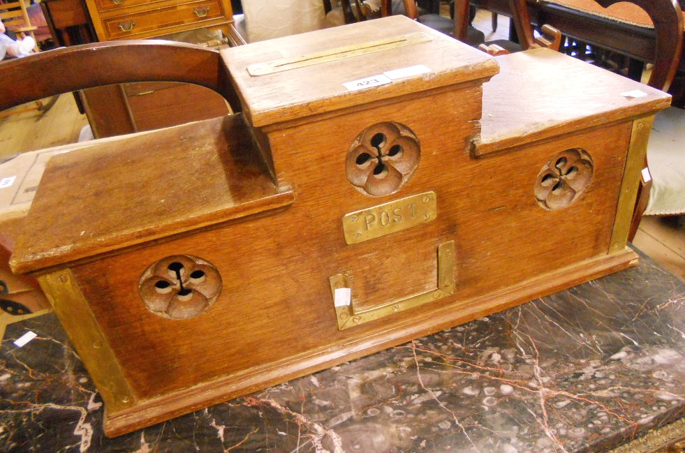 """Lot 423 - A 26"""""""" Victorian brass mounted oak """"""""country house"""""""" post box of stepped design, with brass """""""""""