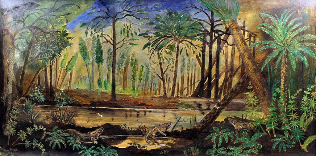 Lot 122 - Carboniferous Diorama - An acrylic painting of a Carboniferous scene, commissioned by Gregory,