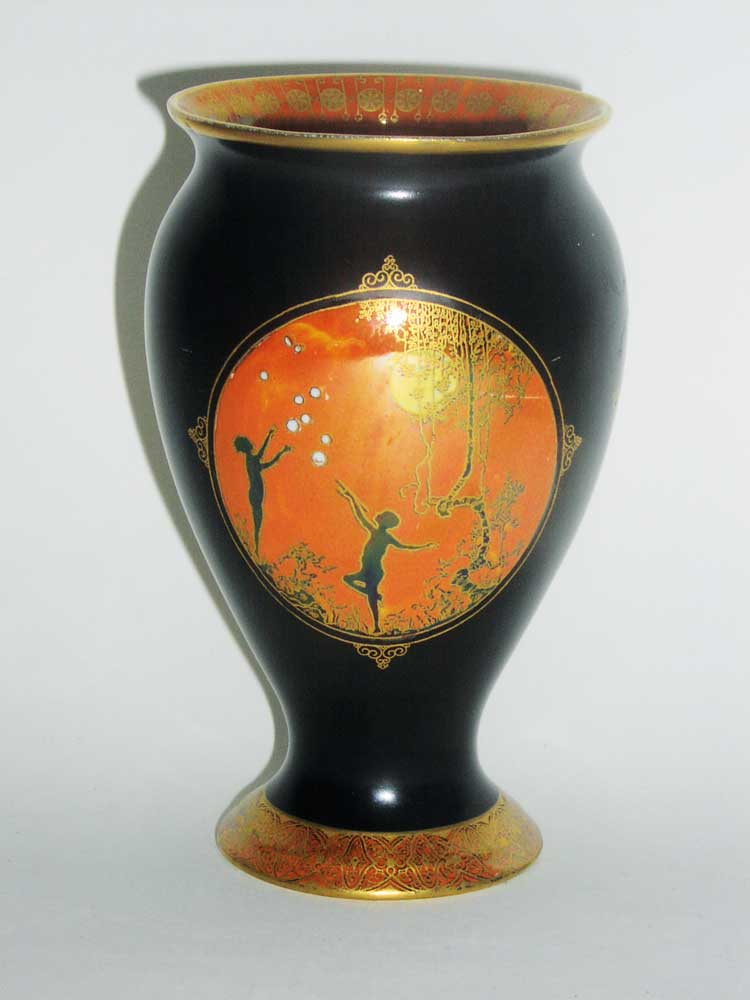 A Carlton Ware Moonlight Cameo Vase Pattern 2944 The Matt Black