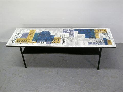 1950's/60's meyer formica topped coffee table, decorated with an