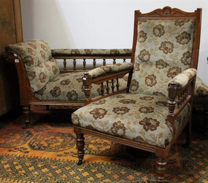 Oak And Upholstered Armchair In Longue Matching Edwardian Chaise kXOPuTZi