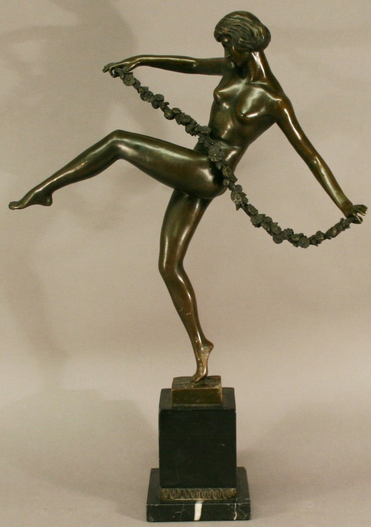 After Pierre Le Faguays French 1892-1962 A Cast Bronze Figure Of A Nude Female -3108