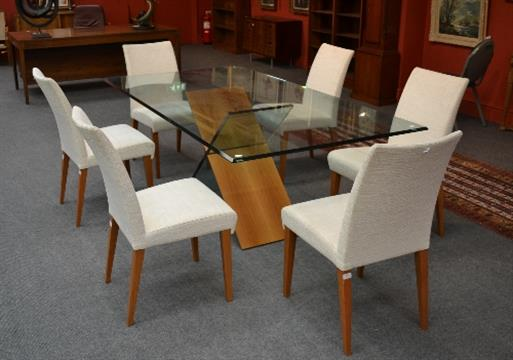 a roche bobois theoreme dining table the rectangular bevelled glass top on a glass and walnut