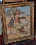 Lot 1158 - Edwin Bale RI, ROI (1838-1923) Italian shepherd boy seated in a sunlit landscape, goats beside